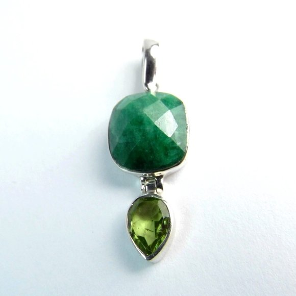 4.50 CT Emerald & Peridot Sterling Silver Pendant